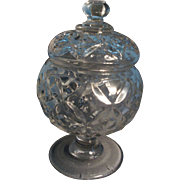 19th c. EAPG Flint Glass Sugar Urn and Cover in the Four Petal Pattern
