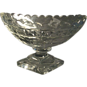 18th c. George III Anglo Irish Lead Crystal Cut Glass Footed Compote 1790