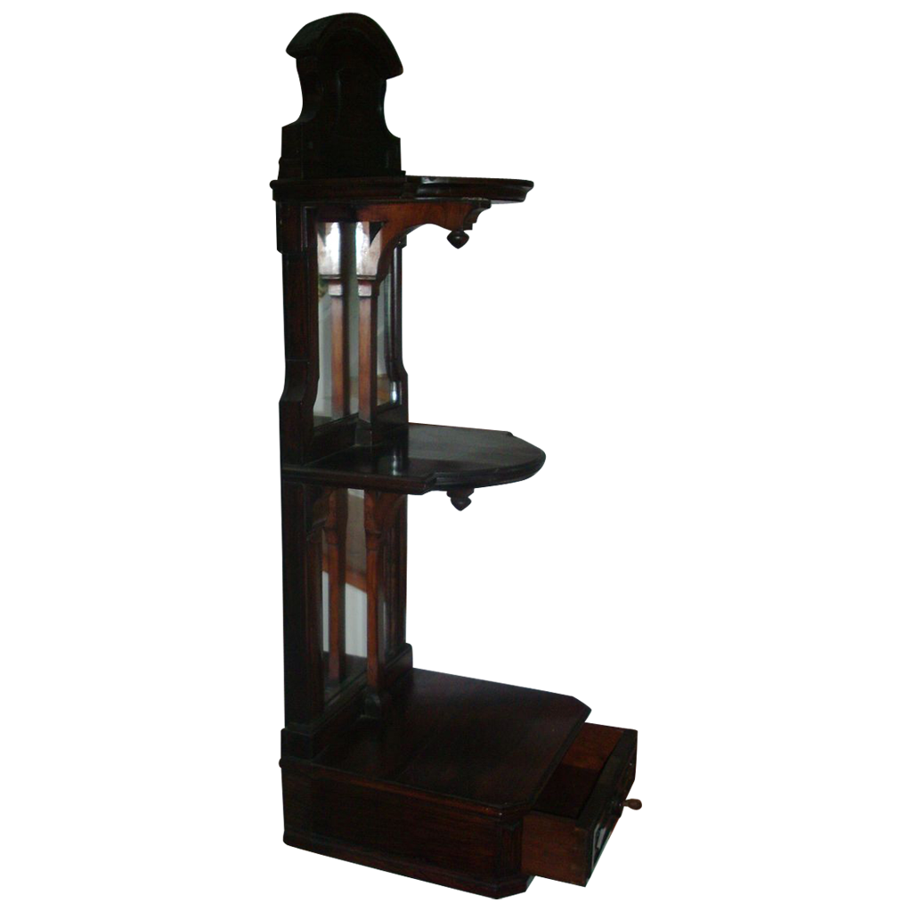19th c. Rosewood Hall Shelf Vitrine with Mirror - Wall Bracket