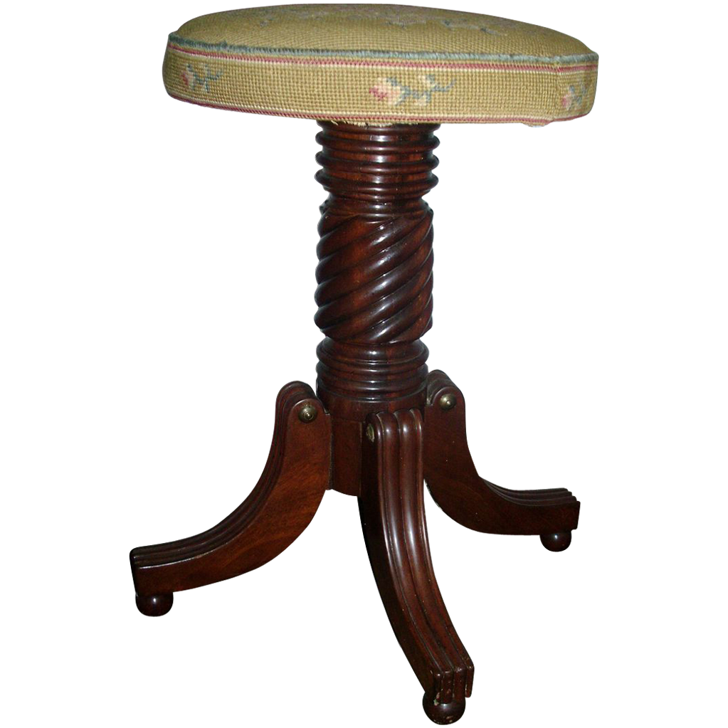 American Federal Mahogany Piano Stool in Classical Taste with Petit Point Seat - 1820  sc 1 st  Ruby Lane : mahogany piano stool - islam-shia.org