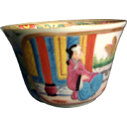 Early 19th c. Chinese Export Porcelain Famille Rose Medallion Mandarin Cup