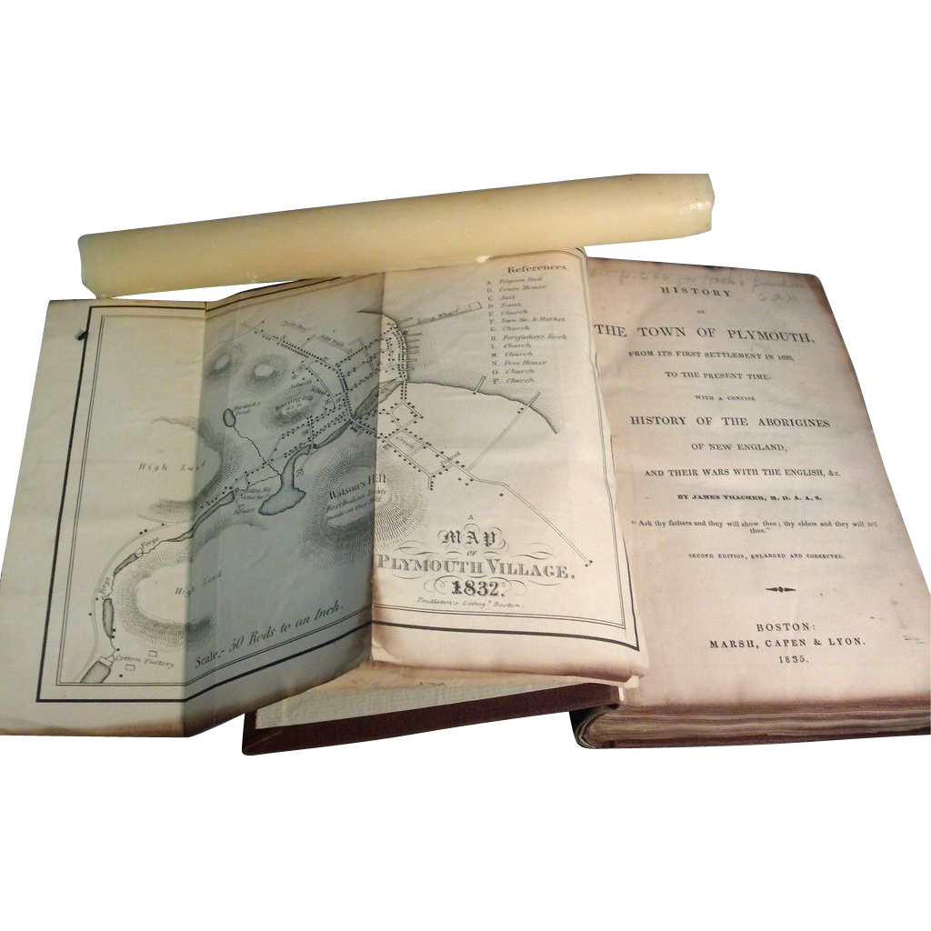 19th c. Native American Indian Book: The History of the Town of Plymouth, Massachusetts 1835 with Map