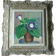1930's American Still Life Oil Painting by Carl Buck - Gloxinia Flowering Plant in Terra Cotta Plant