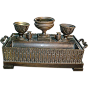 Early 19th c. French Charles X Patinated Bronze Inkwell or Encrier in the Gothic Taste - 1820