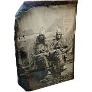 19th c. Tintype Photograph of Native American Indian Costume - Proscenium
