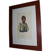McKenny & Hall Hand Colored Print of Native American Indian Chief Tooan - Tuh A Cherokee 1855