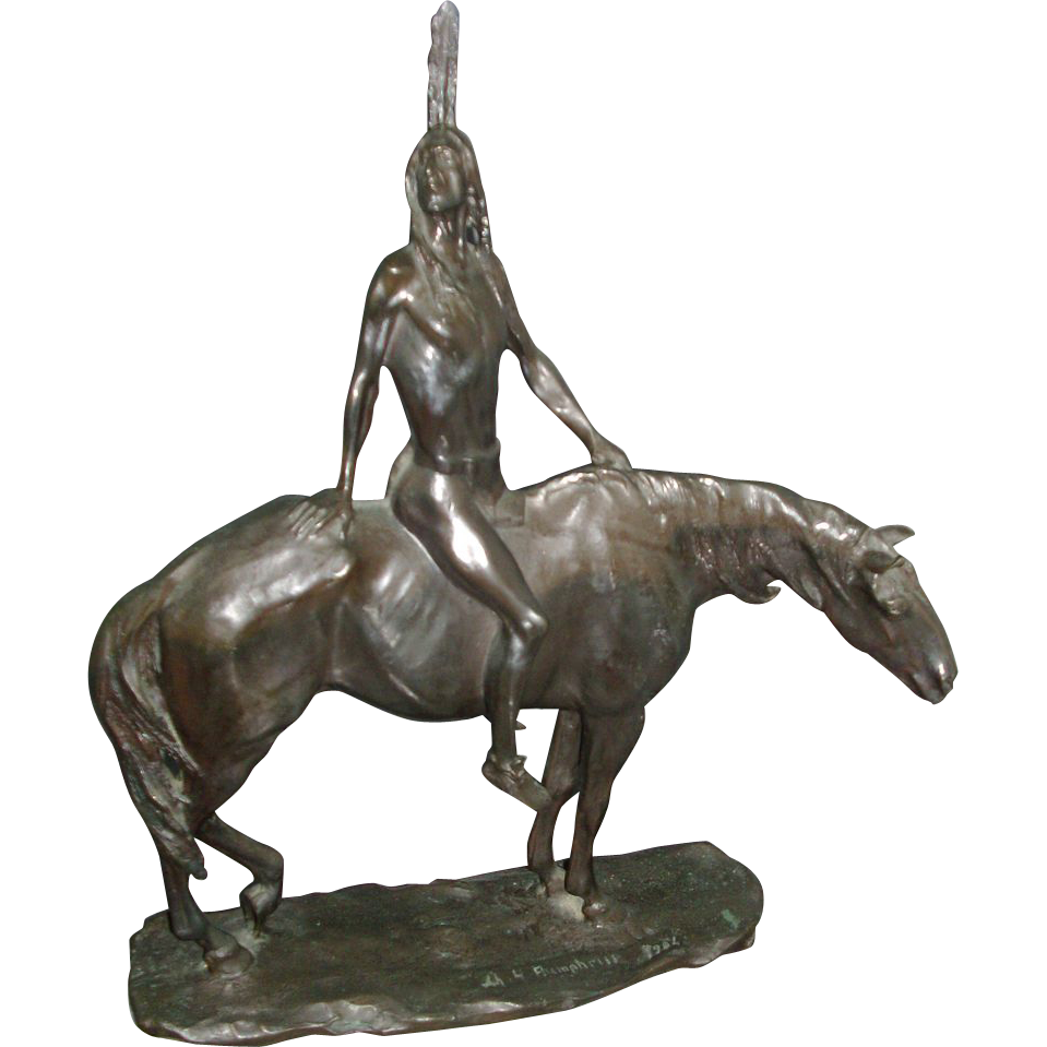 Charles Humphriss Bronze of a Native American Indian on a Horse c. 1910