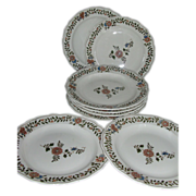 Antique Set 8 19th century Continental German Meissen Porcelain Dinner Plates