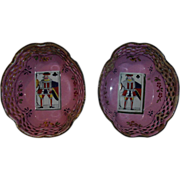 Fine Pair 18th Century Pink Battersea Enamel Dishes