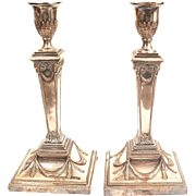 Antique Pair 18th century Old Sheffield Silver on Copper Candlesticks 1790