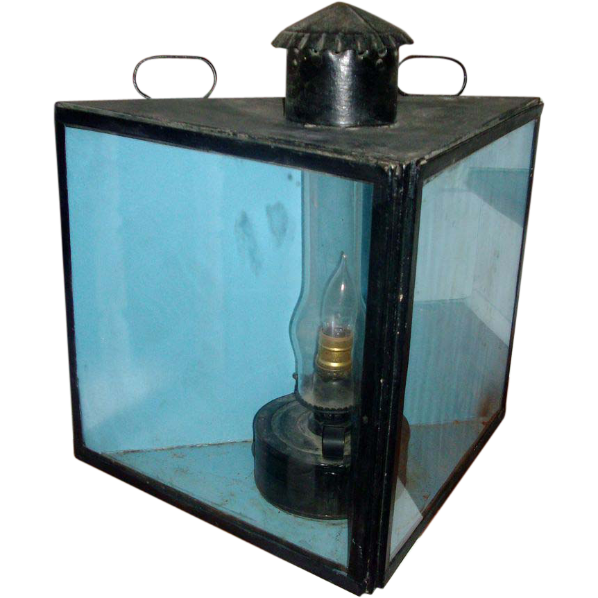 19th c. Tole Oil Lantern Now Electrified - Great Triangular Shape