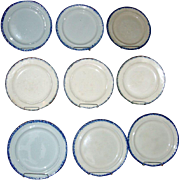 Nine 18th c. Round Blue Shell Edge or Feather Edge Leeds Creamware Plates 1790