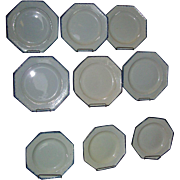 Set 9 18th c. Octagonal Leeds Creamware Feather or Shell Edge Plates in Blue 1790