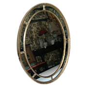 Early 19th c. Georgian Adam Carved and Gilt Wood Oval Mirror with Divided Panels c. 1800