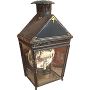 Large Antique 19th century English Paint Decorated Tole Lantern with Mercury Reflector Lamp Electrified
