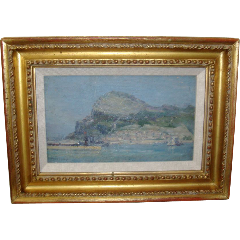 Early 20th c. Oil Painting on Board by Wells Moses Sawyer of Gibraltar