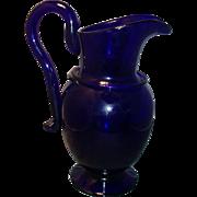 Large Cobalt Glass Hand Blown Pitcher