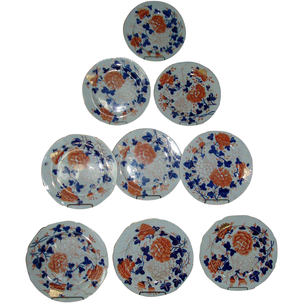 Set 9 Early 19th c. Mason's Ironstone Imari Plates - 1815