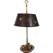 Antique French Gilt Bronze / Ormolu Bouillotte Lamp with Paint Decorated Tole Shade