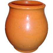 Fine Early 19th c. American Federal Redware Crock with Orange / Pink Glaze
