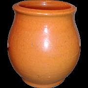 Antique 19th century American Federal Redware Crock with Orange / Pink Glaze