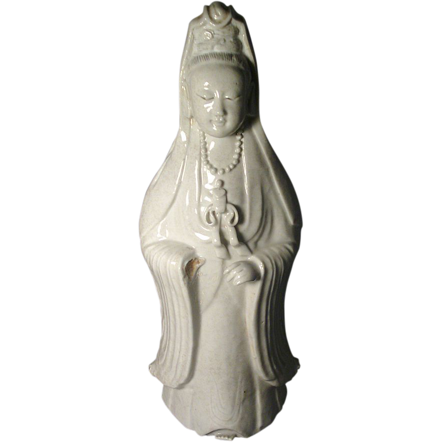 Antique Large 18th century Chinese Blanc de Chine Porcelain Kwan Yin