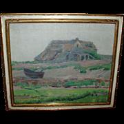 19th century American Impressionist Landscape Painting Plum Island Marsh Oil on Canvas 1880