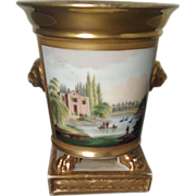 Antique Early 19th century Paris Porcelain Bough Pot Urn Vase with Landscape Decoration 1820