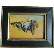 Late 19th / Early 20th c. American West Oil Painting on Board of a Cowboy with Horses and Wagon in a Desert Landscape