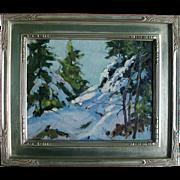 Mid 20th century Oil Painting on Board - New England Snow Scene by Bernard Corey (1914 - 2000)