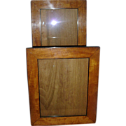 Antique Pair 19th century Biedermeier Fruitwood & Ebonized Wood Picture Frames