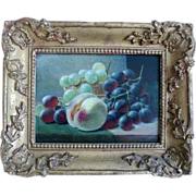 19th century Oil Painting on Wooden Board by John Augustus Thelwall Fruit Still Life of Peach and Grapes in Period Frame