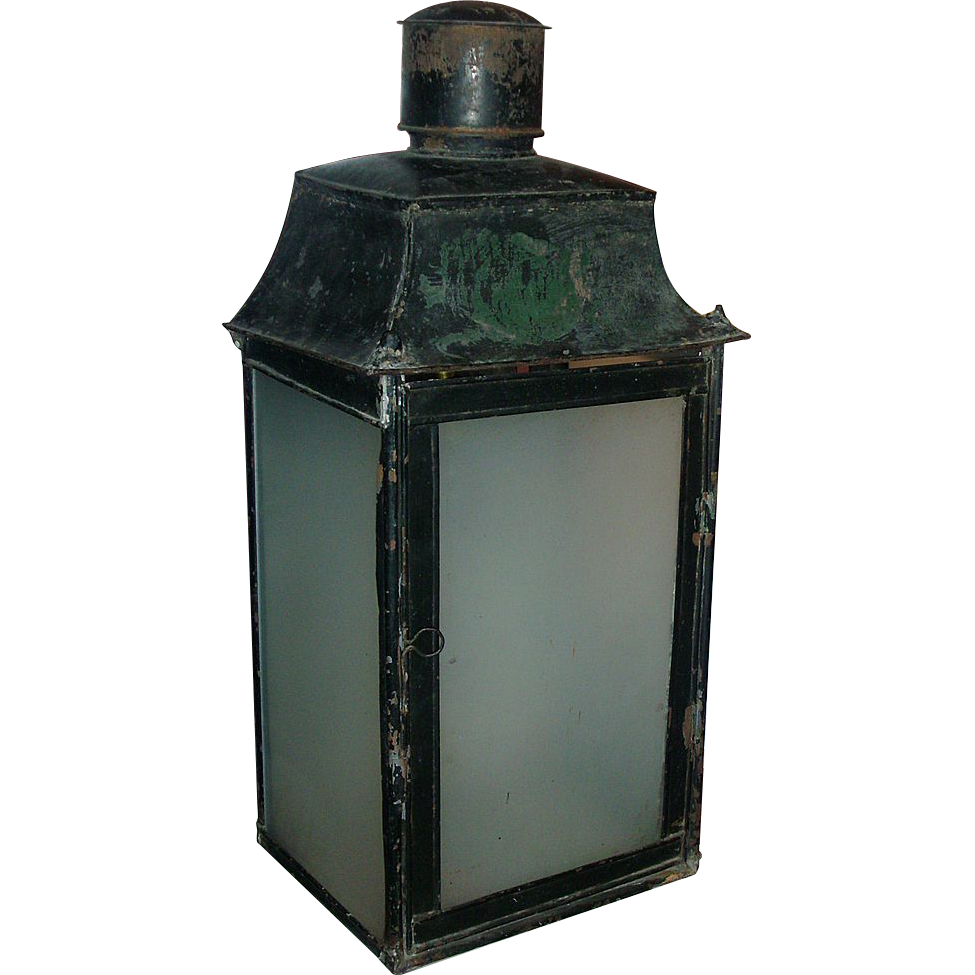 Antique 19th c. French Tole Paint Decorated Lantern with Frosted Glass