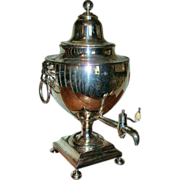 Late 18th / Early 19th c. Antique Regency Old Sheffield Silver on Copper Samovar or Hot Water Tea Urn with Lion Head Masks