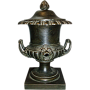 Antique 19th c. English Regency Bronze Urn Vase Colza Oil Lamp 1815