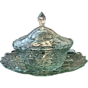 Antique 19th century Anglo Irish Cut Glass Tureen Cover and Under Tray