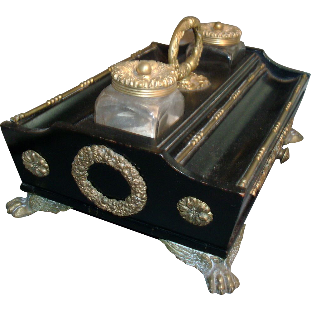 Early 19th c. Regency Ebonized and Mounted Encrier Ink Stand