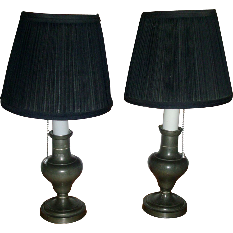 Pair 19th c. French Pewter Oil or Fluid Lamps Mounted for Electricity