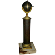 19th century French Empire Antique Gilt & Patinated Bronze Armillary Terrestrial Globe on Column