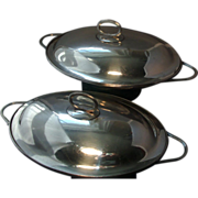 Rare Pair Antique 18th century Old Sheffield Silver on Copper Entree Dishes and Covers 1790