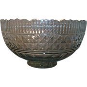 Antique 18th c. George III Anglo Irish Lead Crystal Cut and Faceted Glass Punch Fruit Centerpiece Bowl 1780