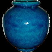 French Art Deco Turquoise Crackle Glazed Porcelain Studio Vase 1920