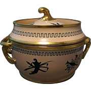 Antique Early 19th century Coalport Porcelain Neoclassical Fruit Cooler with Silhouettes 1810