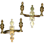 Pair Early 19th century Federal Brass Jamb Hooks with Urn Finials for Mantel 1810