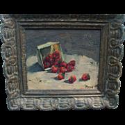 Oil Painting Fruit Still Life Box of Strawberries in Fine Frame Signed Koenig