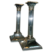 Pair Antique 19th century Old Sheffield Silver on Copper Corinthian Column Candlesticks