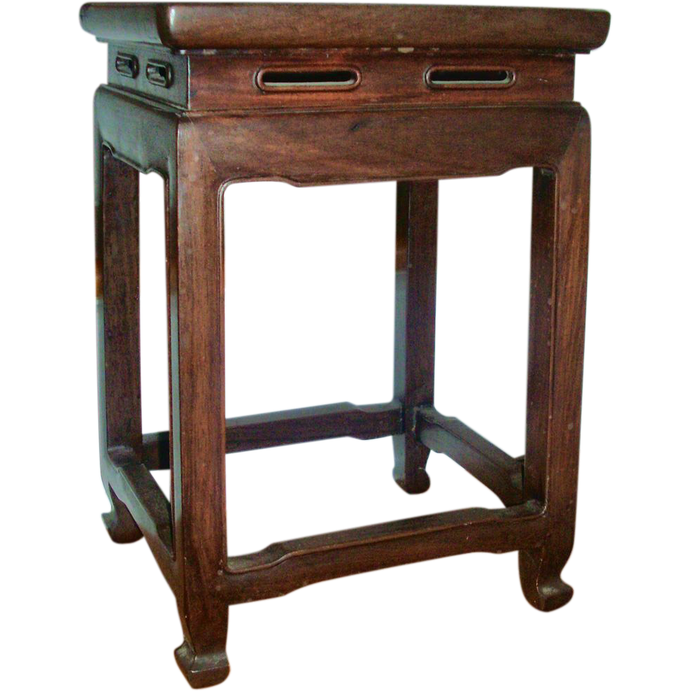 Vintage Art Deco Chinese Hardwood Table Stool or Vase Stand