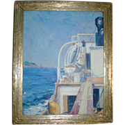 Wells Moses Sawyer Oil Painting of a Sea Ship on the Mediterranean with Elba in the Distance Salmagundi Label