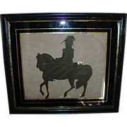 Early 19th c. Hollow Cut Silhouette of President Andrew Jackson on Horseback