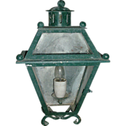 Vintage Early 20th century Art Deco Paint Decorated Iron Wall Sconce Lantern